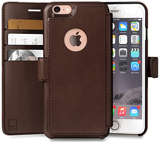 best sneakers a8566 0846a LUPA Wallet case for iPhone 8, Durable and Slim, Lightweight, Magnetic  Closure, Faux Leather, Dark Brown