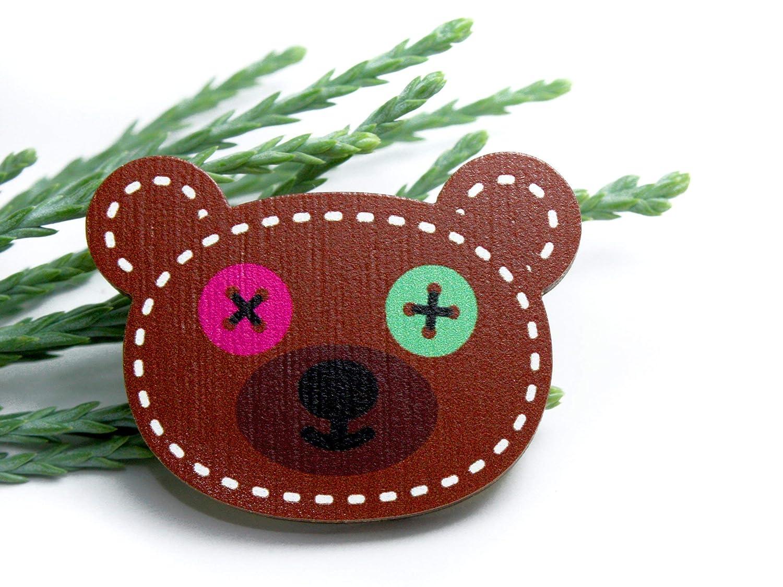 Elsterchen Brosche aus Holz f/ür Kinder *** Knopfaugen-Teddy ***