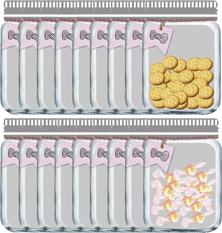 Enkrio 18 Large Reusable Zipper Snack Bags, Mason Jar Food Storage Snack Sandwich Ziplock Storage Bags for Kitchen Camping Picnic Organizer Children (18Large)