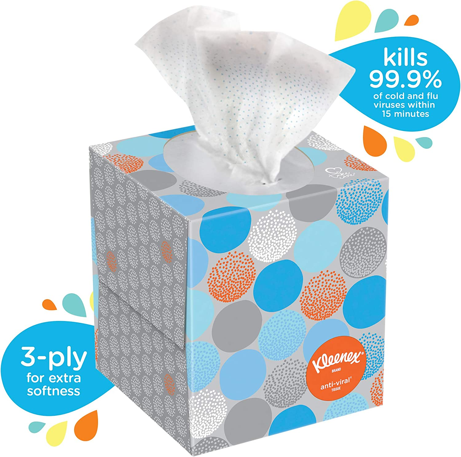 White, 21286 Kleenex Professional Anti-Viral Facial Tissue Cube For Business