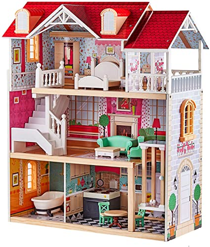 Top Bright Country Estate Wooden Dollhouse With Elevator Dream Doll House For Little Girls 5 Year Olds Toys Games