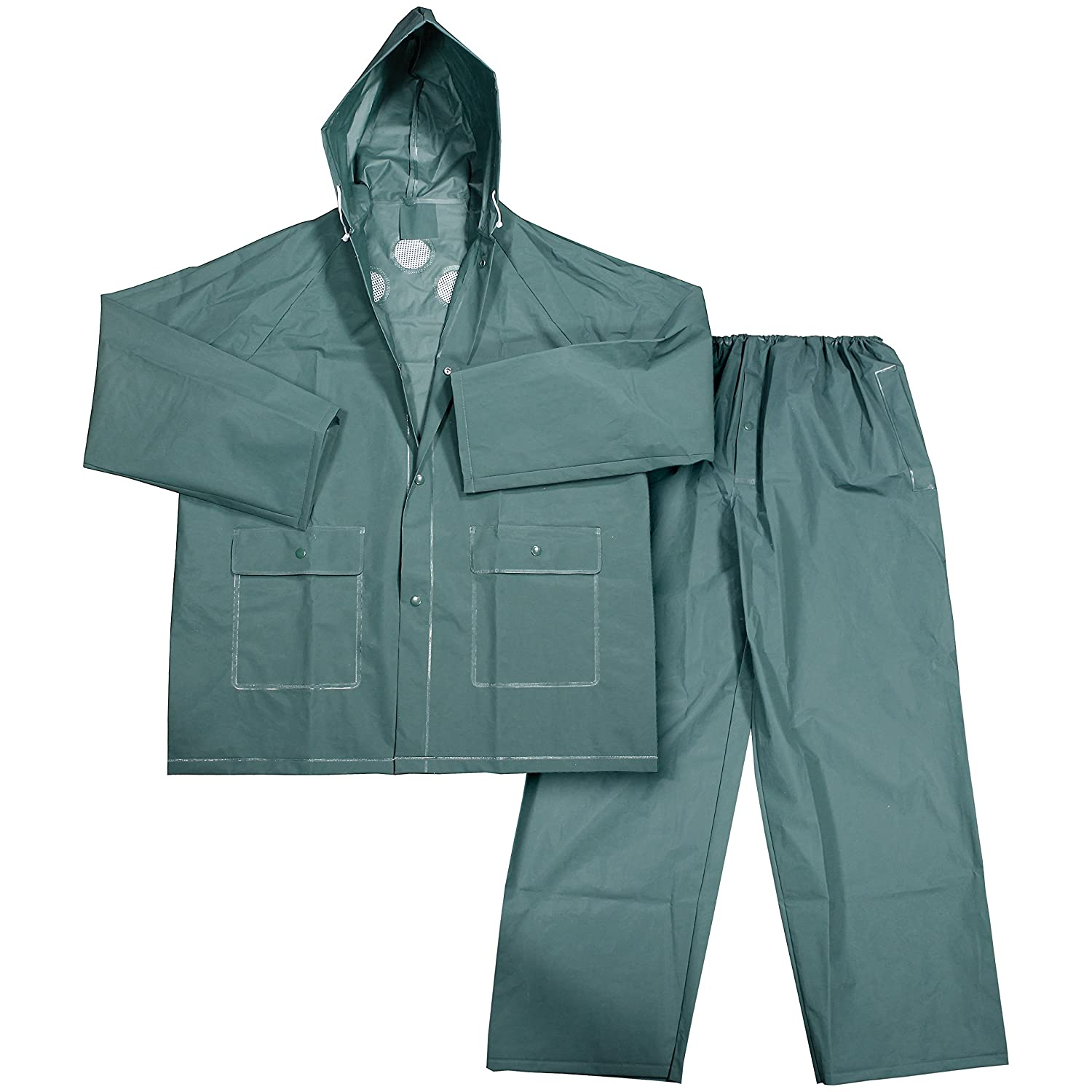 Black Galeton 11930-XXXL-BK 11930 Repel Rainwear 3 Piece Rain Suit 3X-Large 0.35 mm PVC