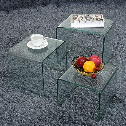 Set di 3 tavolini da caff/è in Vetro tavolini da Salotto Trasparente T.Mullen Nidificazione