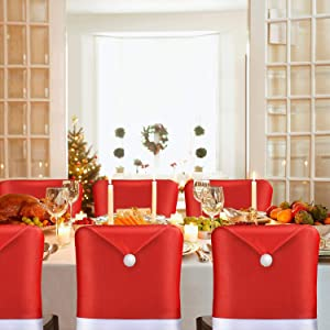 AMFOCUS Christmas Chair Back Cover Santa Claus Hat Slipcovers Decoration 6 Pcs, 2019 Upgraded Design