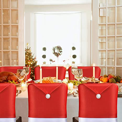 Christmas Chair Back Covers.Amfocus Christmas Chair Back Cover Santa Claus Hat Slipcovers Decoration 6 Pcs 2019 Upgraded Design