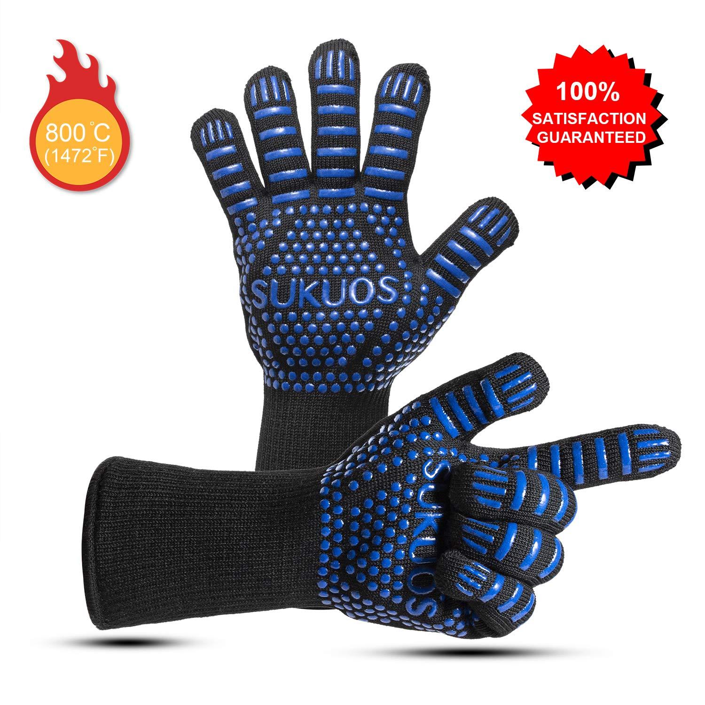 Blau Schwarz und Blau /… SUKUOS Grillhandschuhe Ofenhandschuhe Hitzebest/ändig f/ür M/änner Blau bis zu 800 /° C Grill Lederhandschuhe Universalgr/ö/ße BBQ Kochenhandschuhe