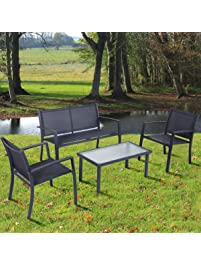 TANGKULA 4PCS Patio Conversation Set For Outdoor Indoor Use With Glass Top  Coffee Table, Loveseat