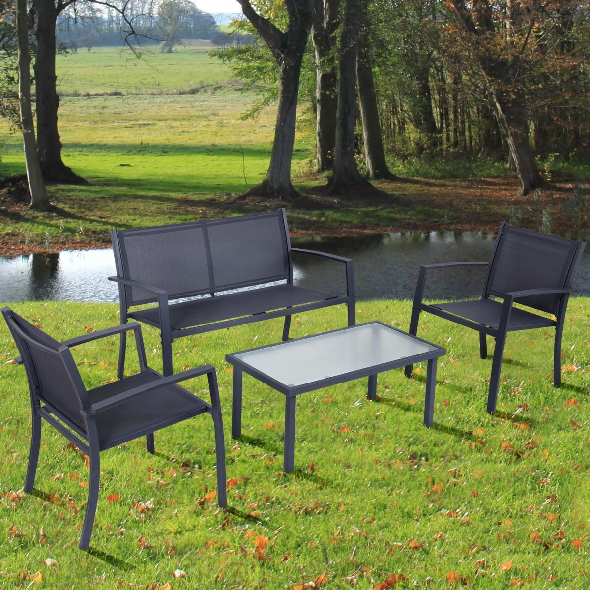 Tangkula 4 PCS Patio Conversation Set Outdoor Table and Chairs Furniture Set