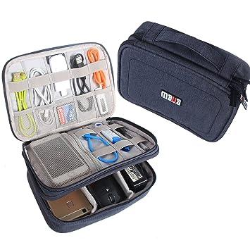 BUBM Estuche para Electrónicos Organizador de Accesesorio Bolsa de Viaje para Cables Cargador,Gadget de Memoria USB, Azul