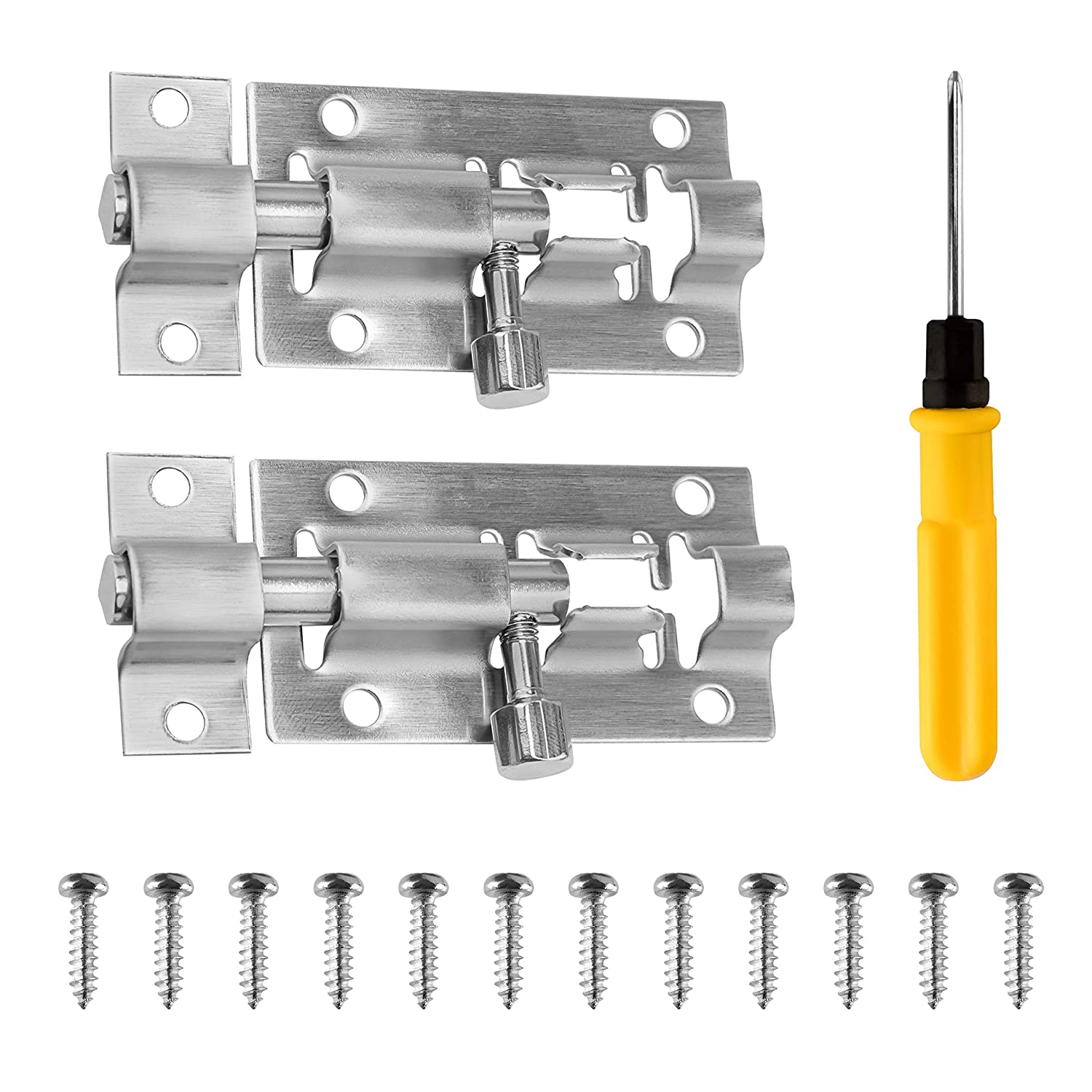 Fences Sumille 2 Pack Stainless Steel Slide Latch Lock with Screwdriver Windows Brushed Finish Slide Door Latch for Chests Barrel Bolt Security Lock Cabinets