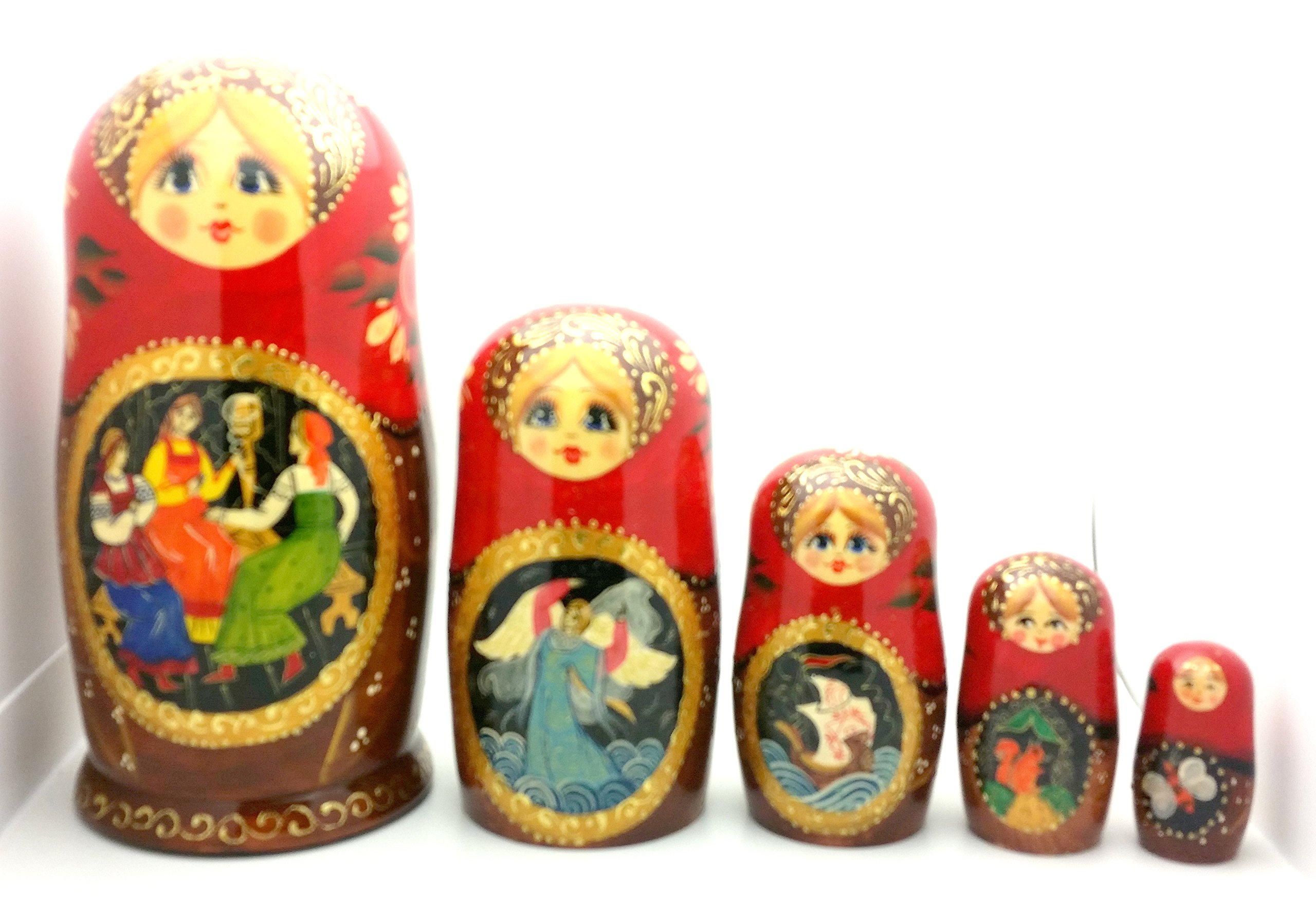 Tsar Saltan fairy tale by Pushkin Russian Nesting doll Hand Carved Hand Painted 5 piece Set 7'' tall by BuyRussianGifts (Image #2)