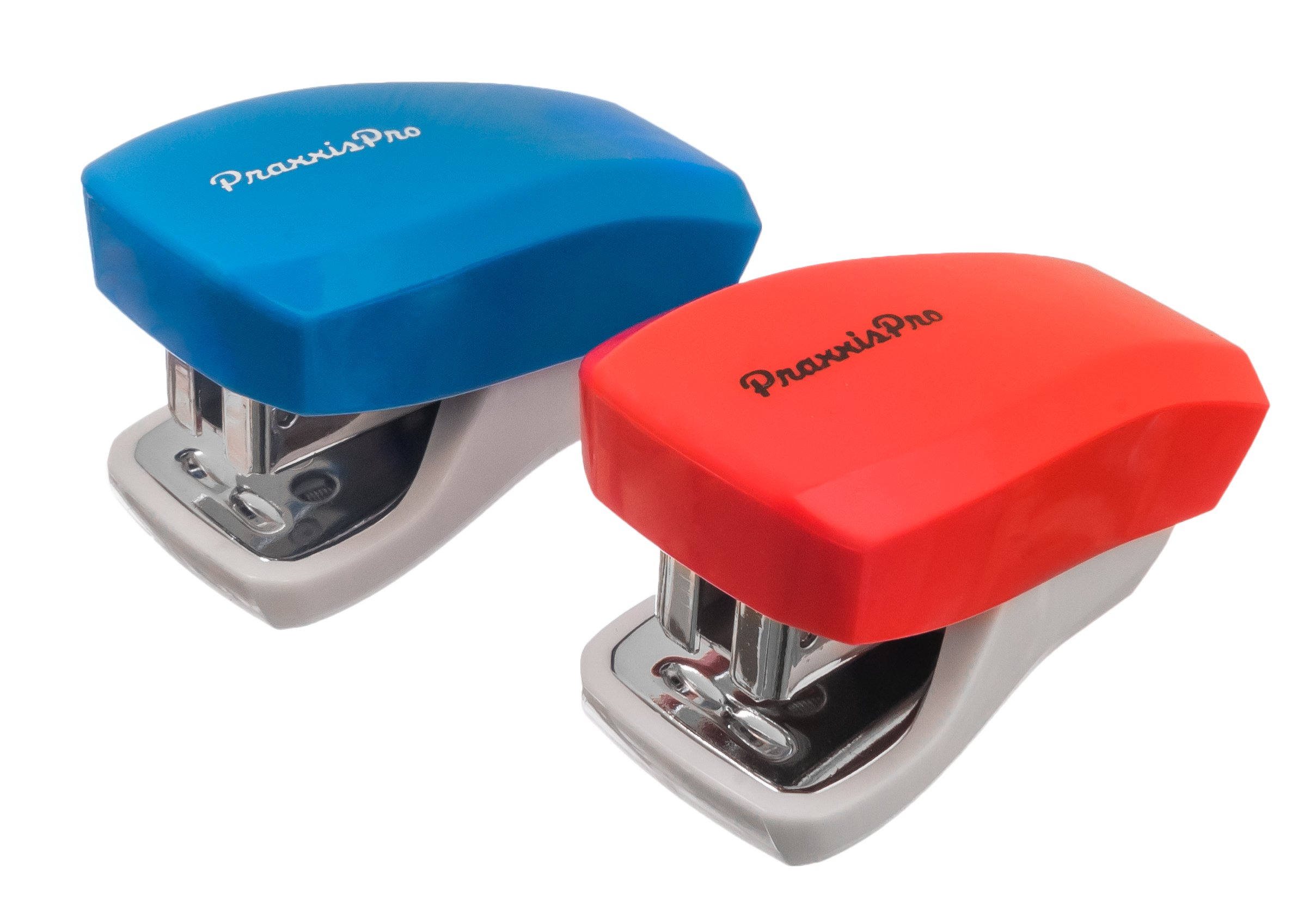 PraxxisPro, Mini Staplers, Built in Staple Remover, Staples 2 to 18 Sheets. (Blue, Red)