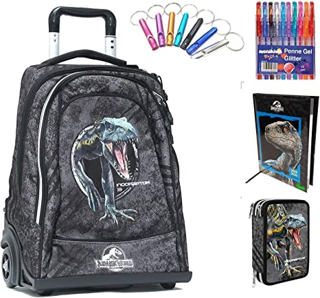 Jurassic world. Trolley Mochila Escolar Double by Gut Nueva colección 2019 + Diario fechado Negro Azul + Estuche 3 Pisos Cremallera Completo + Regalo 10 bolígrafos de Colores + Llavero Silbato: Amazon.es: Deportes y aire libre