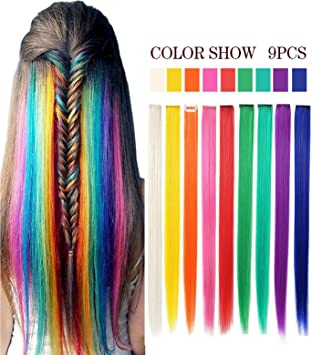 37fdf9157a7d 9 PCS 20 Inches Hair Extensions Straight Long Hairpiece Wig Pieces for Kids  Colored Hair Extensions