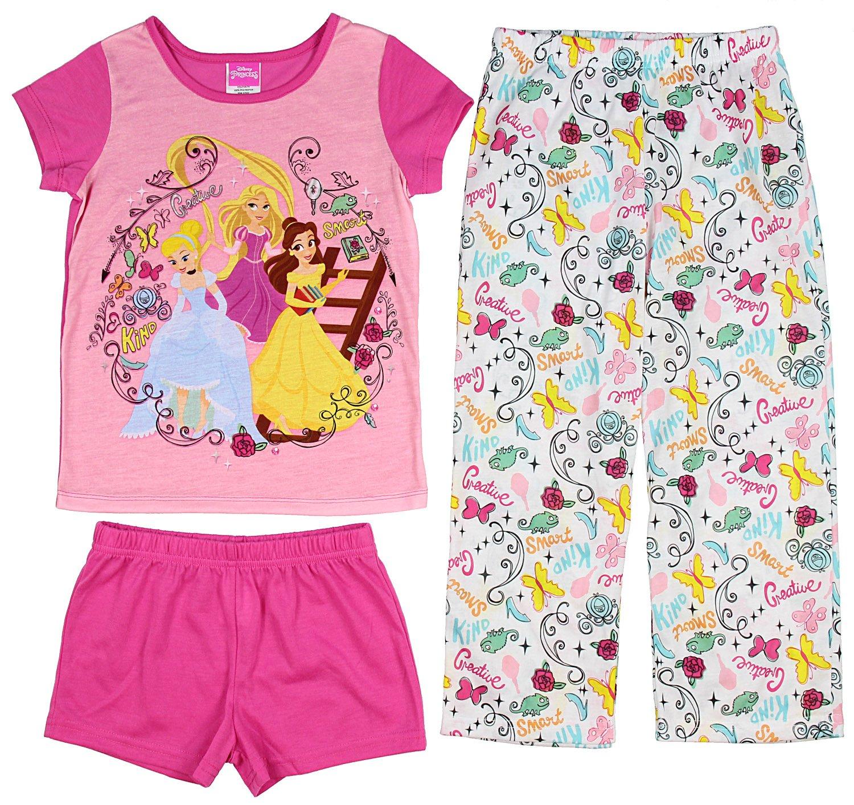 Disney Princess Girls' Belle Cinderella and Rapunzel 3-Piece Pajama Set (8)