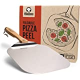 Chef Pomodoro Aluminum Metal Pizza Peel with Foldable Wood Handle for Easy Storage 12-Inch x 14-Inch, Gourmet Luxury Pizza Pa