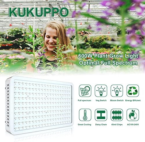 2000W LED Grow Light Plant Grow Lights Full Spectrum for Indoor Plants Veg and Flower Hydroponics Grow Lamps Light Fixtures with Daisy Chain Function and Powerful Cooling Fans KUKUPPO