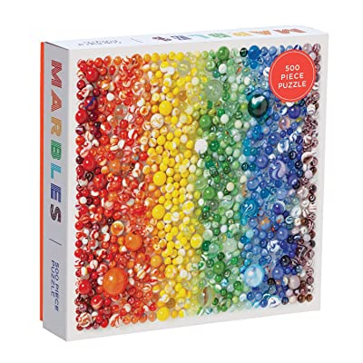 Galison 500 Piece Rainbow Marbles Jigsaw Puzzle for Families and Adults, Finished Puzzle is a Unique Rainbow Image, Photo Art Puzzle Includes Varying Colors and Sizes of Marbles: Galison, Ream, Julie Seabrook: Toys & Games