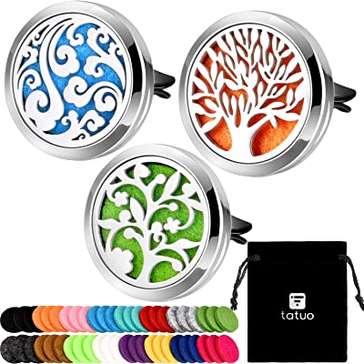 Tatuo 3 Pieces 316L Stainless Steel Car Aromatherapy Vent Clip Locket Essential Oil Diffuser Air Freshener and 48 Pieces Replacement Felt Pad for Car Decoration: Beauty