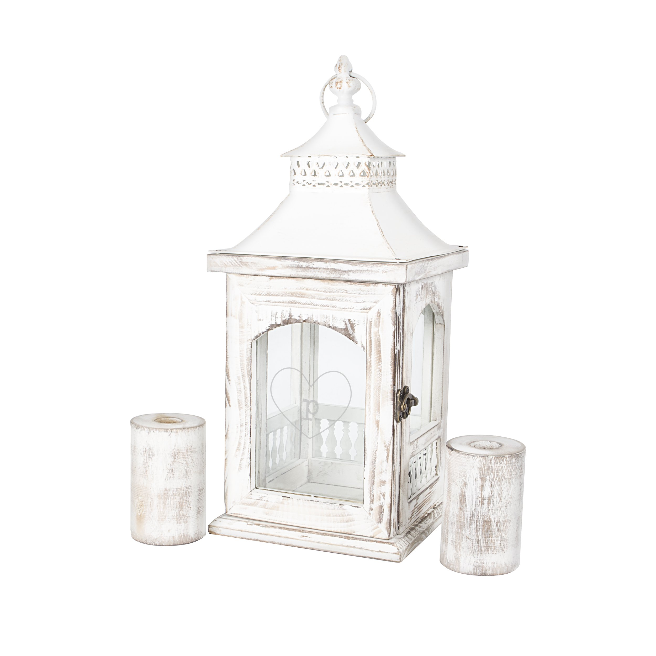 Personalized Rustic Heart Unity Lantern with Candle Holders, Letter P