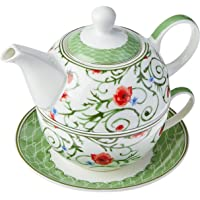 Delicata Jogo de Chá para 1 Peso Bonechina Estampado 3 Peças GS Internacional Multicolorido 450Ml