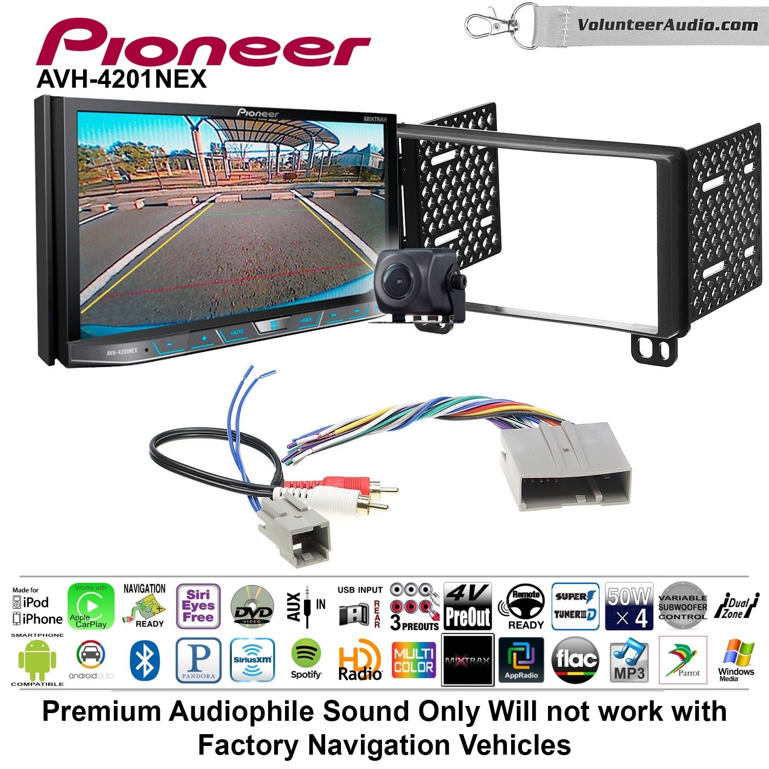 Volunteer Audio Pioneer AVH-4201NEX Double Din Radio Install Kit with Apple Carplay Android Auto Bluetooth Fits 2003-2006 Expedition, 2004-2006 Navigator