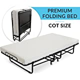 """Milliard Premium Folding Bed with Luxurious Memory Foam Mattress – Perfect Guest Bed Featuring a Super Strong Sturdy Frame - (No Assembly Required Just Screw in the Wheels and Go) - 75"""" X 31.5"""""""