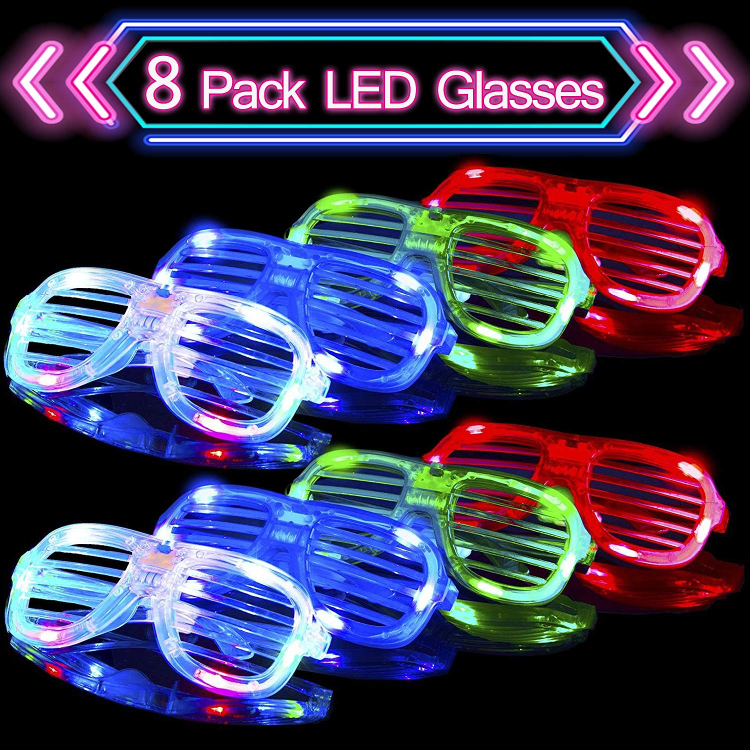 8 Pack Light Up Glasses Birthday Party Favors for Kids Adults Birthday Party Supplies Glow in the Dark Party Packs LED Glasses Flashing LED Party Glasses Holiday Dress Up Accessories LANDYLO