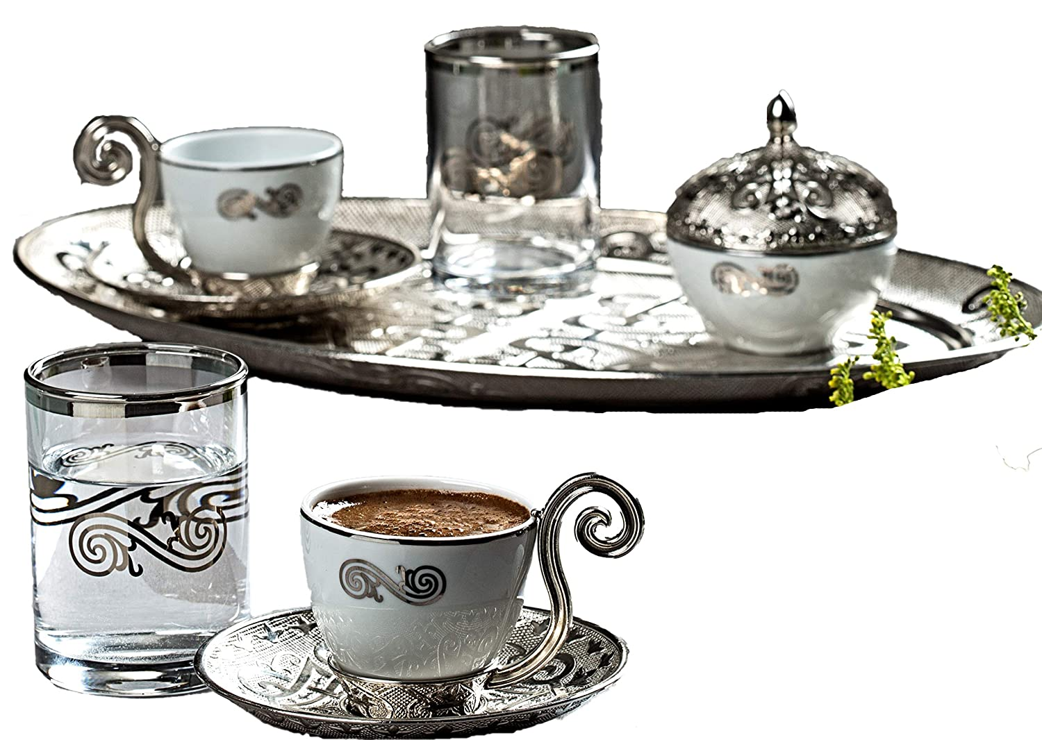 Premium Silver plated Coffee Set for Turkish, Arabic, Greek and Espresso coffee - Made in Turkey - 11 pieced set, Silver Gold Case Sprl-11