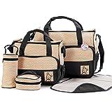BabyHugs® 6pcs Baby Nappy Changing Diaper Messenger Hospital Maternity Bag Set including Bag Organiser - Black