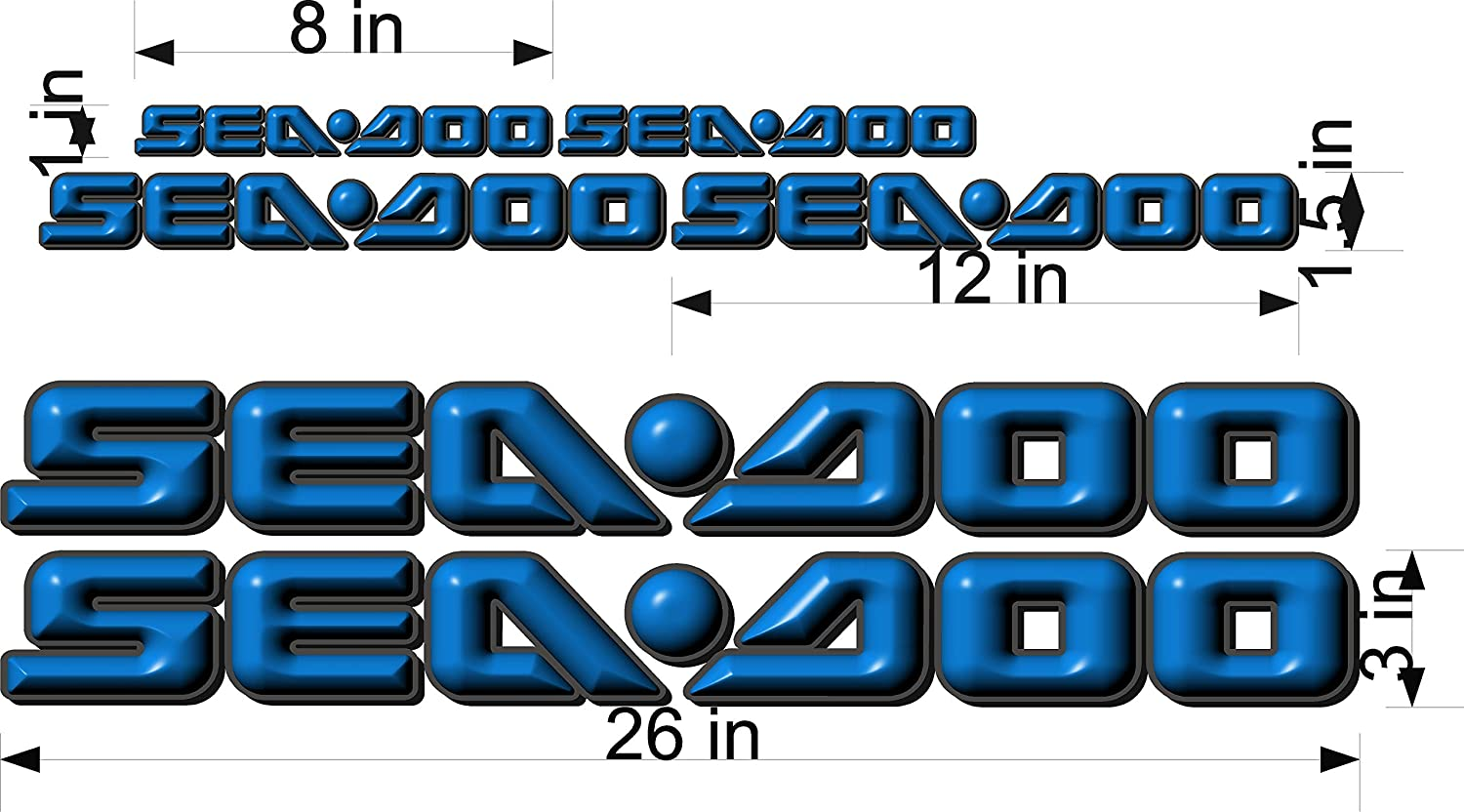 SEA-DOO-BLUE REPLACEMENT 3D-LOGO-3x26-DECAL-SET-GRAPHIC-STICKER-PACKAGE