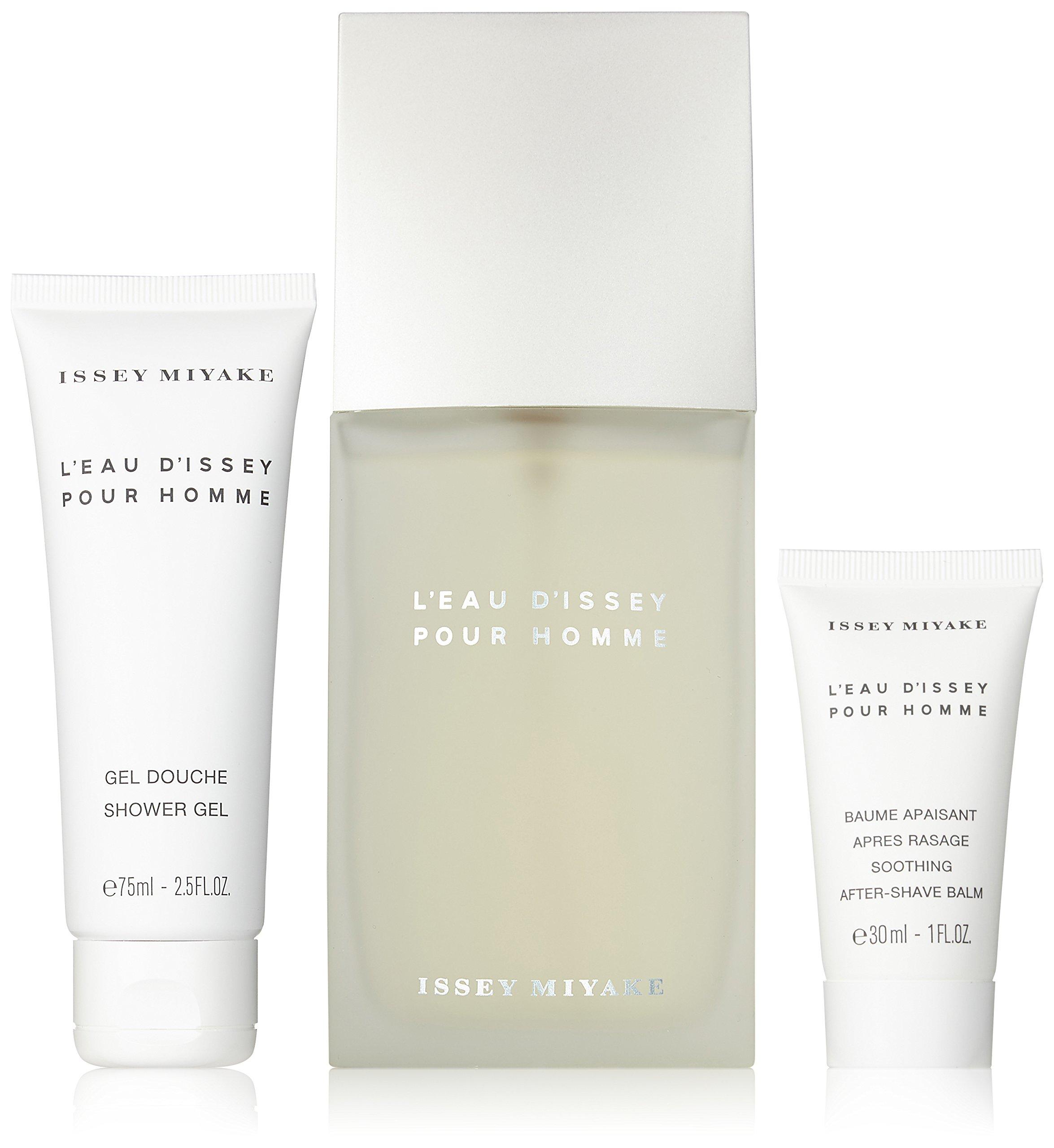 L'Eau D'Issey By Issey Miyake Gift Set For Men Edt Spray 4.2 Oz & Shower Gel 2.5 Oz & Aftershave Balm 1 Oz