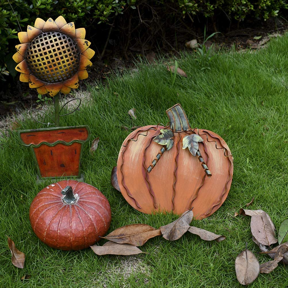 S Monogram Pumpkin Garden Stake Yard Lawn Art Harvest Thanksgiving Halloween