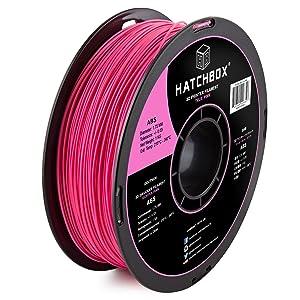 HATCHBOX ABS 3D Printer Filament, Dimensional Accuracy +/- 0.03 mm, 1 kg Spool, 1.75 mm, Pink