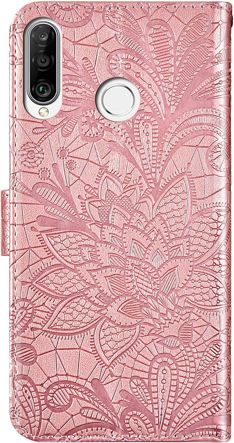 Herbests Compatible with Huawei P20 Lite 2019 Wallet Case Lace Mandala Flower Embossed Premium Leather Stand Flip Full Body Protective Cases Cover Credit Card Slot Magnetic Closure,Blue