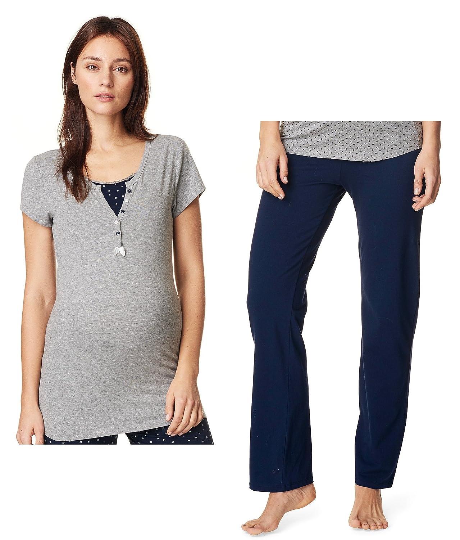 Noppies 2 Set Schlafanzug Umstandsschlafanzug Sleep Shirt + Hose Pyjama Nachtwäsche Still- Pyjama