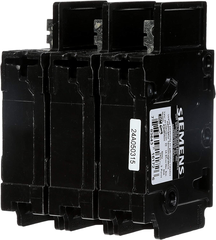 Siemens BQ3B060H 60-Amp Three Pole 240-Volt 22KAIC Lug In//Lug Out Breaker Siemens HI