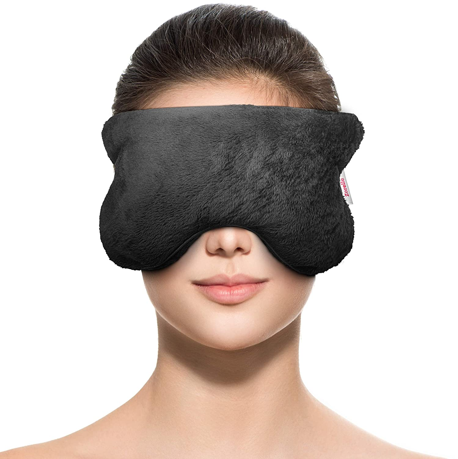ZORELLE Weighted Eye Mask Pillow: Heat and Aromatherapy for Anxiety and Stress Relief; Headache, Sinus, and Migraine Relief Mask; Helps with Dry, Puffy and Dark Eyes; Eye Compress; Cooling Pillow