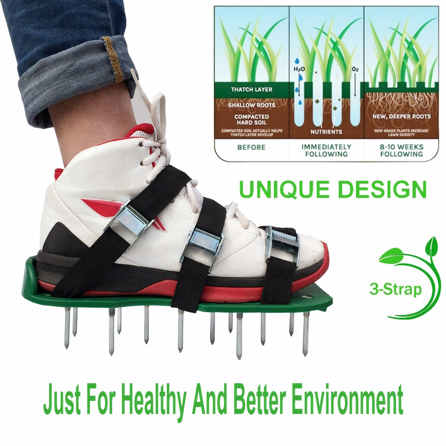 Nate's Time Lawn Aerator Shoes, 3 Adjustable Straps and Metal Buckles,Universal Size that Fits all,For a Greener and Healthier Lawn or Yard and Garden .Ready for aerating your roots & grass