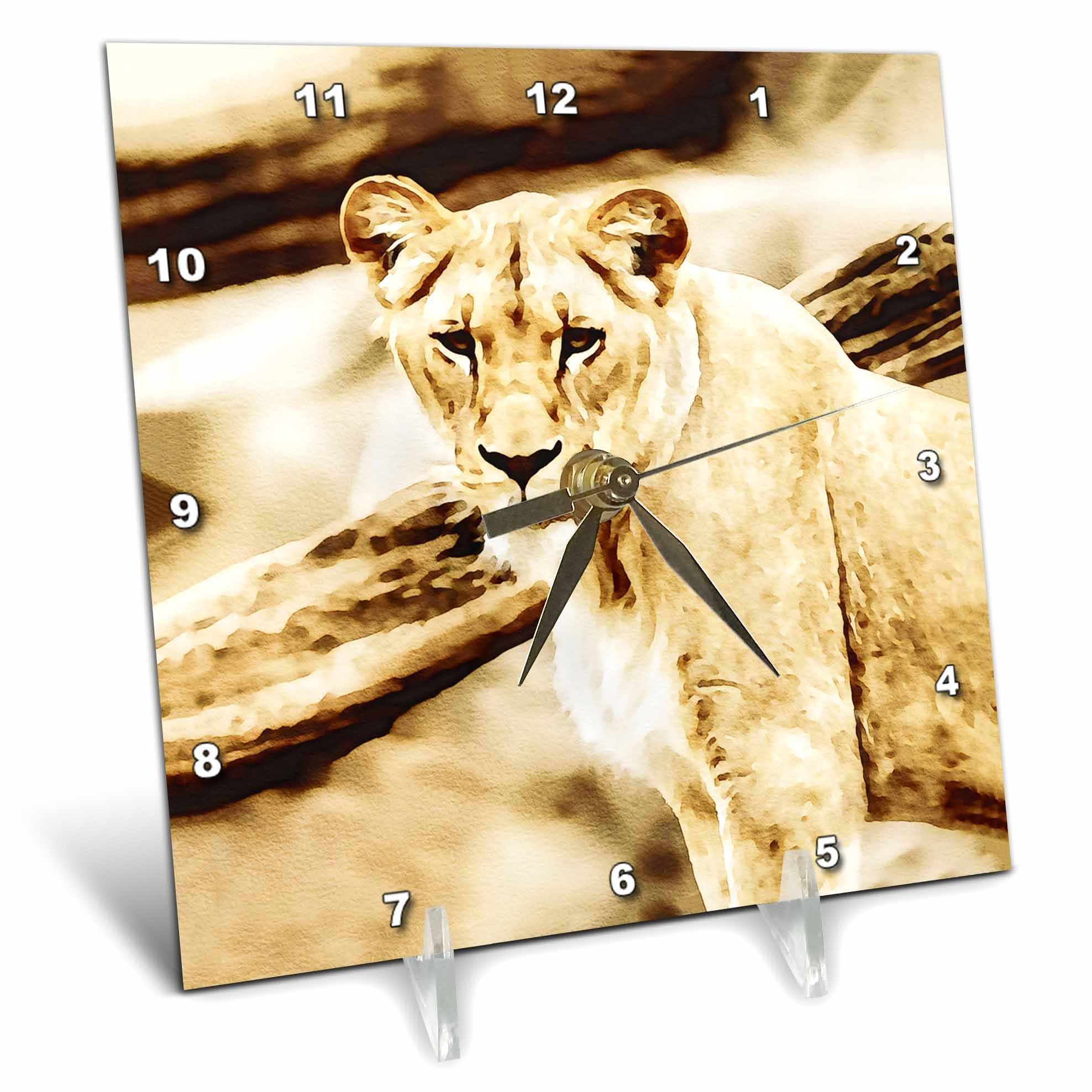 3dRose Andrea Haase Animals Illustration - Lioness Watercolor Illustration In Soft Brown - 6x6 Desk Clock (dc_276219_1)