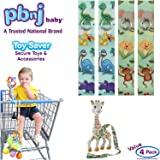 PBnJ baby Toy Saver Strap Holder Leash Secure Accessories Dinosaur/Jungle - 4pc