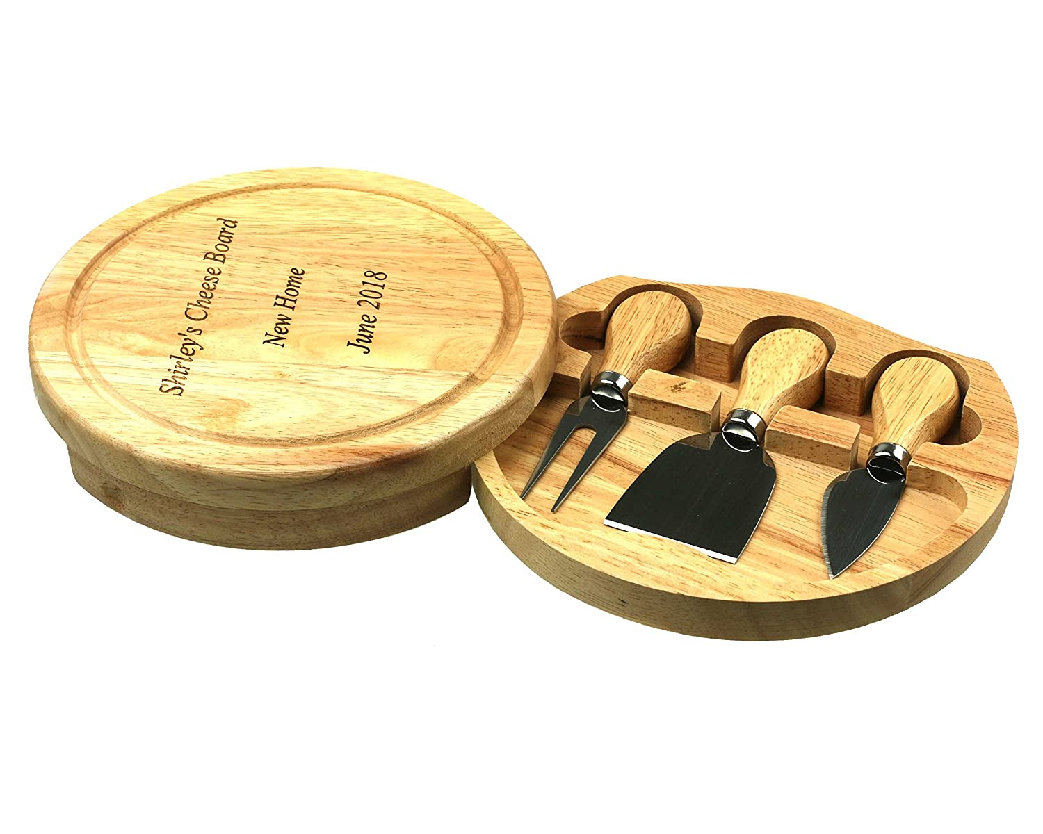 Customised/Personalised Wood Cheese Board & Knife Gift Set | 19cm Round Wooden CheeseBoard Set | Wedding, Christmas, Fathers, Mothers Day, House Warming Present Cathcart Elliot