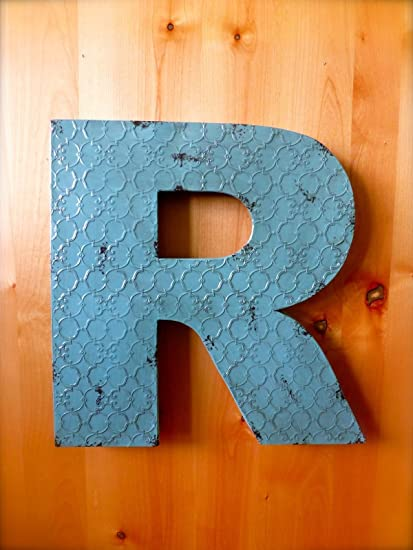 """INDUSTRIAL BLUE METAL WALL LETTER /""""T/"""" 20/"""" TALL rustic vintage decor antique sign"""