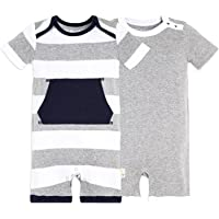 Burt's Bees Baby Baby Boys' Short Sleeve Rompers 2-Pack, 100% Organic Cotton One-Piece Coverall