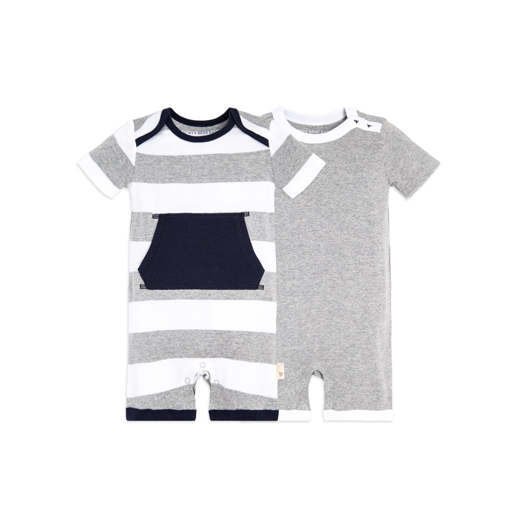 Burts Bees Baby - Baby Boys Short Sleeve Rompers 2-Pack, 100%