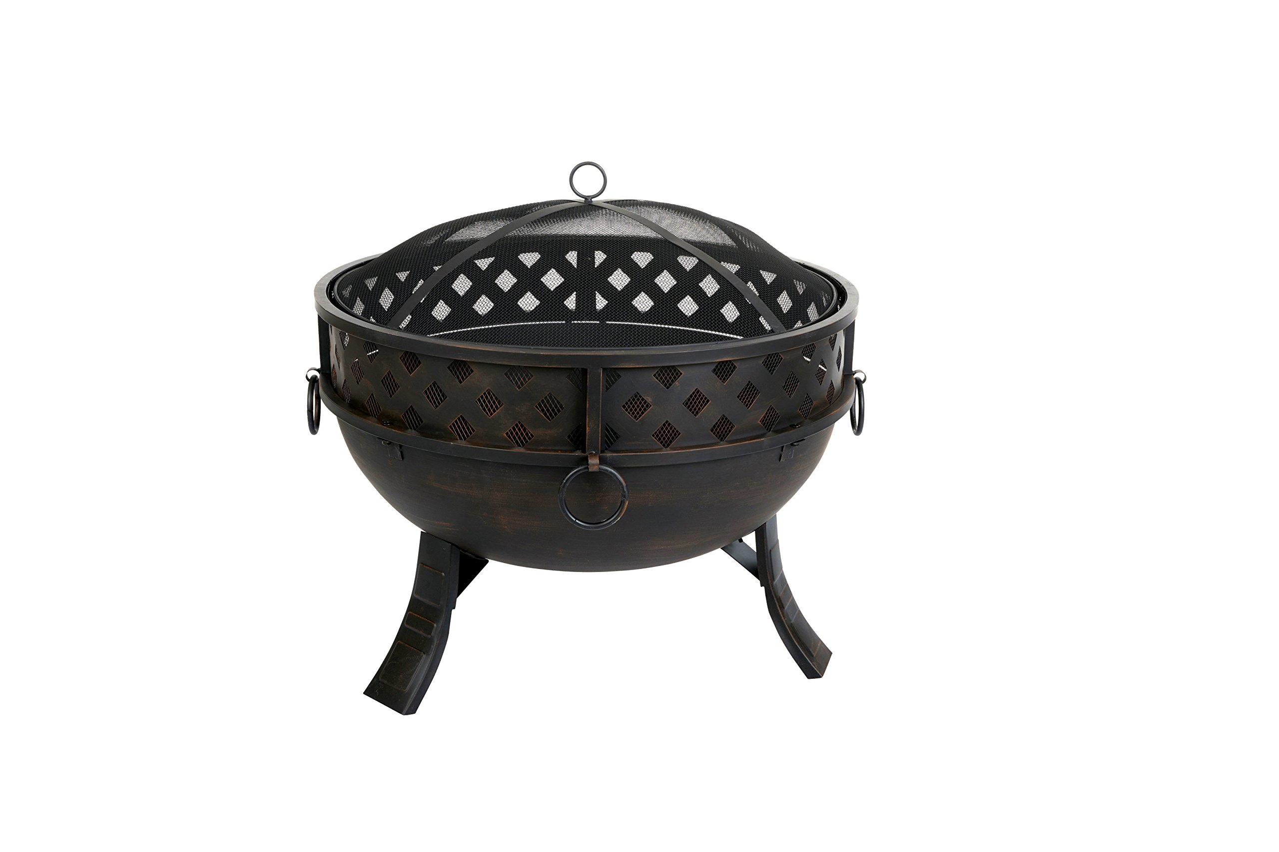 "Terra Verde Home DFP105 Round Fire Pit, 27"", Bronze - Easy to assemble Burns wood and fire logs (not included) Includes protective mesh screen - patio, outdoor-decor, fire-pits-outdoor-fireplaces - 81nXGYmYCKL -"