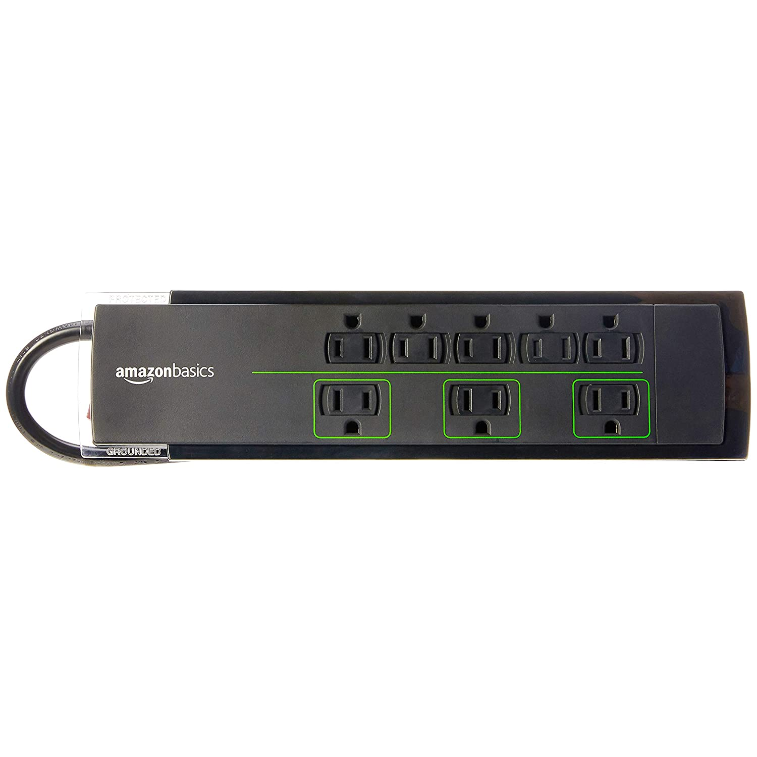 Amazon com amazonbasics 8 outlet power strip surge protector 4500 joule 6 foot cord electronics
