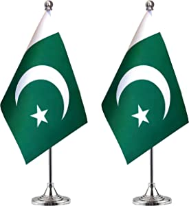 WEITBF Pakistan Desk Flag Small Mini Pakistani Office Table Flag with Stand Base Decorations,2 Pack