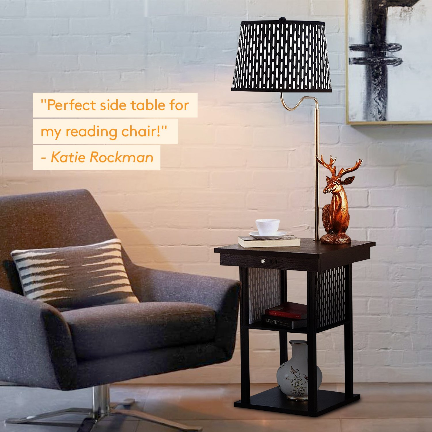 Brightech Madison LED Floor Lamp Swing Arm Lamp W/Shade U0026 Built In End Table  U0026 Shelf, Includes 2 USB Ports U0026 1 US Electric Outlet U2013 Bedside Table Lamp  For ...