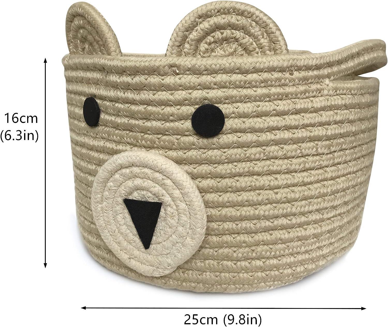 Khaki Schrank B/üro OYHOMO Aufbewahrungskorb aus Baumwollseil S/ü/ß B/är Korb Faltbare Aufbewahrungsbox Baby Spielzeug Storage zur Organisation von Kinderzimmer